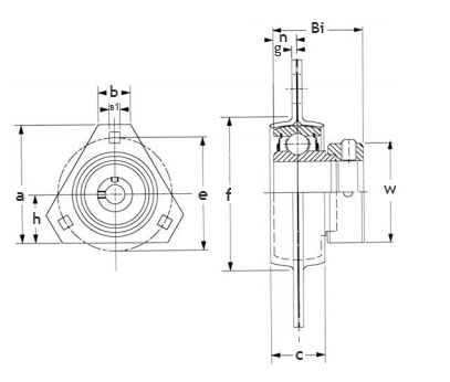 Triangle flange unit-pressed steel SAPFT
