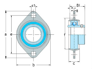 2 bolt flange units-pressed steel SAPFL
